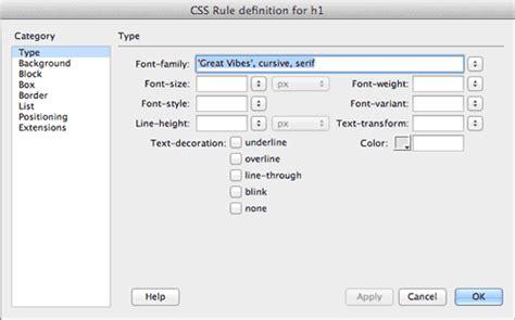 creating css rules in dreamweaver dreamweaver tutorial add google web fonts using