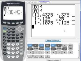 calculator matrix inverse c 15 matrix inverse on a graphing calculator help video