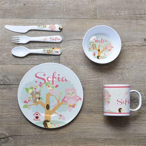 Set Printed Glass Mug Spoon Lid personalised melamine dinner set bowl plate mug