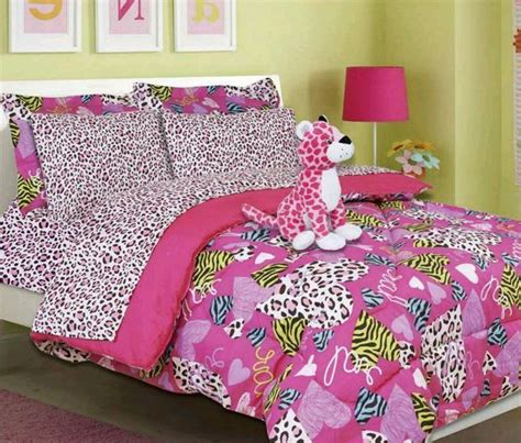 Girls Bed In A Bag Pink Cheetah Zebra Print Minto Pink Cheetah Print Bed Set
