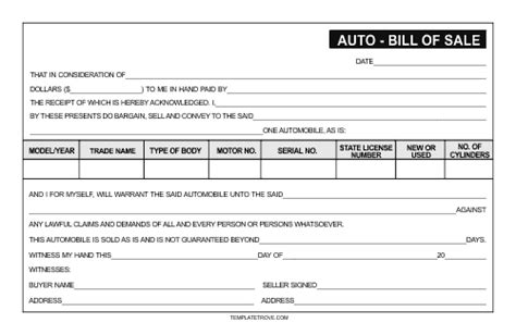 Car Bill Of Sale Template Free Printable Documents Nh Boat Bill Of Sale Template