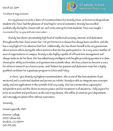professional help with graduate school letter of