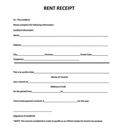 rent receipt templates excel  formats