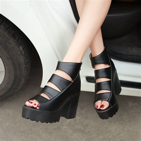 open toe peep toe platform high heel gladiator