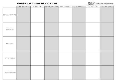time blocking template weekly time blocking free printable adore them