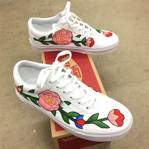 Vans Skool Flower custom painted vans skool flower theme b shoes