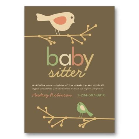 Cross Babysitting Business Card Template by Mod Birds Baby Sitter Business Card O Rourke