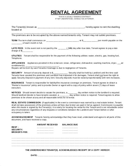 Basic Rental Agreement Or Residential Lease Template Business Residential Lease Contract Template