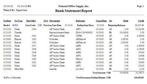 bank statement checking account balance images