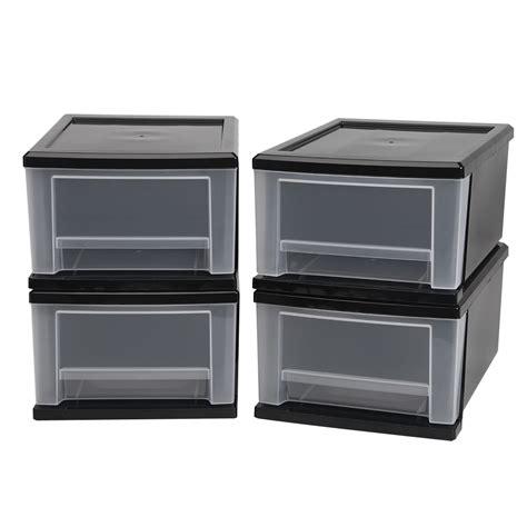 iris small stacking drawer iris usa inc 4 piece 7 quart stacking drawer small black