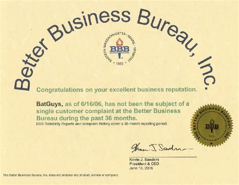 better business bureau certification bat guys wildlife service professional certified and