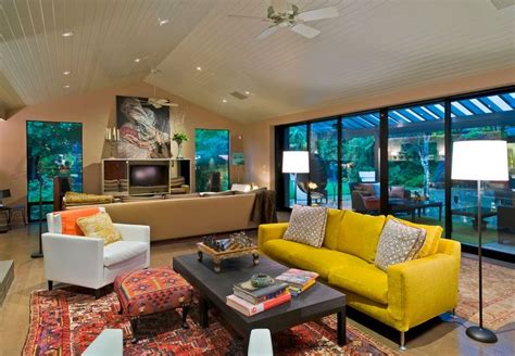 Outdoor Livingroom how to design with and around a yellow living room sofa