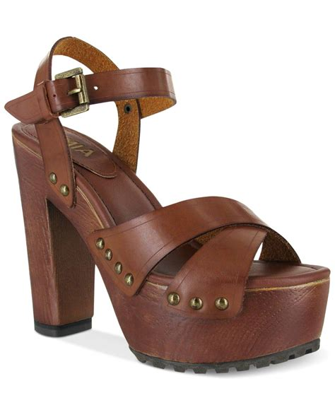 clog sandals for elly platform wooden clog sandals in brown lyst