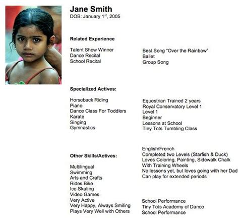 child actor resume tips tips workbook jpg