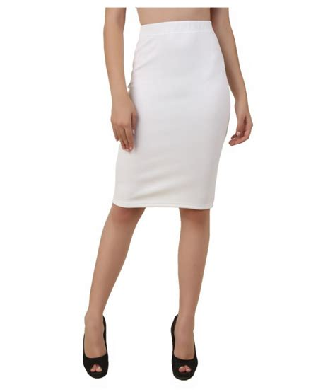 fame16 white cotton lycra pencil skirt snapdeal price