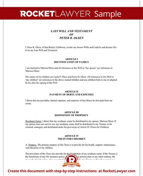 Will For Parents Of Minor Children Last Will And Testament Template For Married