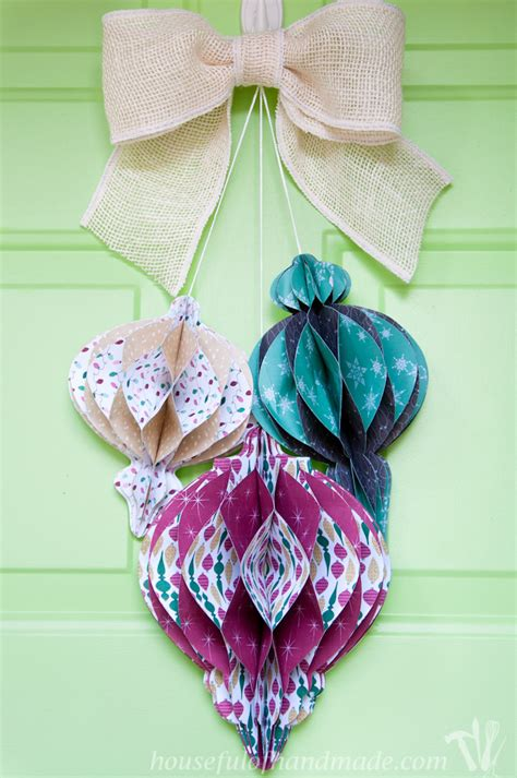 Handmade Paper Ornaments - diy paper ornament wreath a houseful of