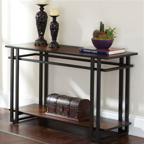 Metal Sofa Table Steve Silver Company Black Metal Cherry Finish Sofa Table Ebay