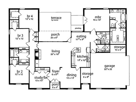 5 bedroom farmhouse floor plans floor plan 5 bedrooms single story five bedroom tudor