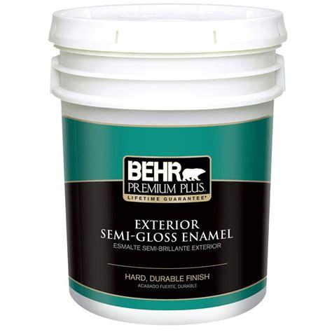 gloss paint behr premium plus 5 gal ultra pure white semi gloss