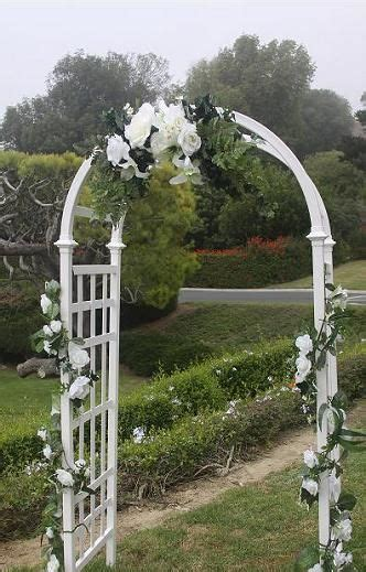 wedding arch decorations ideas   White lattice arch shown