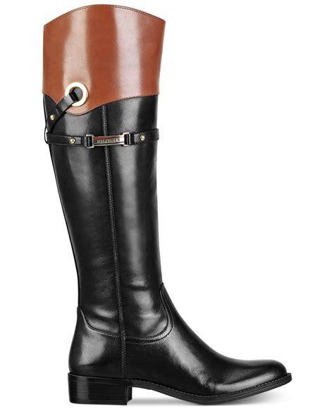 designer wide calf boots hilfiger delphy wide calf boots in black