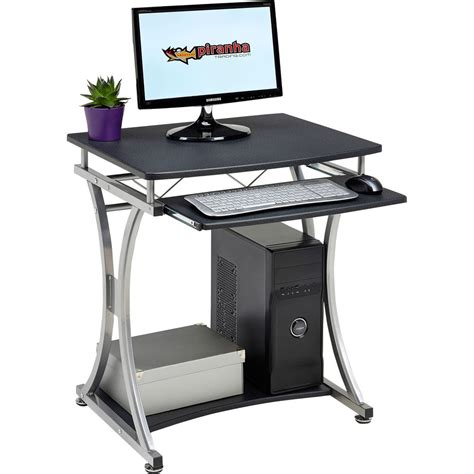 Compact Office Desk Home Office Computer Table For Laptop Piranha Furniture Graphite Black Pc 11g Ebay