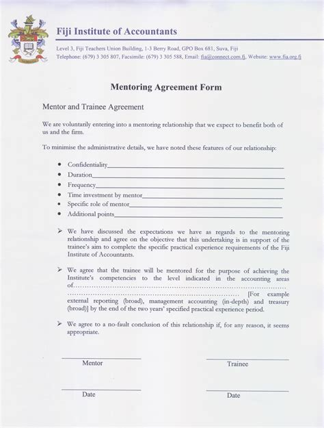 mentoring application templates mentoring agreement form jpg aspx