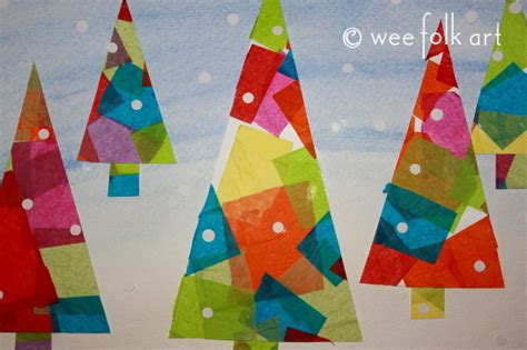 large christmas art projects tissue paper winter trees project allfreeholidaycrafts