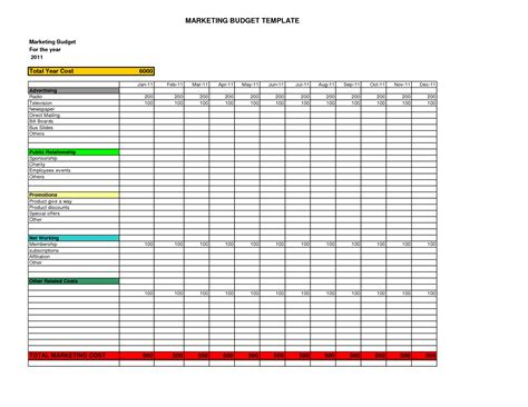 excel spreadsheet templates budget marketing budget template cyberuse