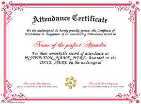 certificate of attendance template perfect attendance