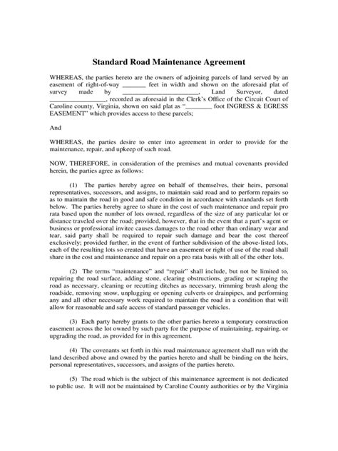 Agreement Letter For Repair Road Maintenance Agreement Form 6 Free Templates In Pdf Word Excel
