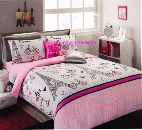 girls bedroom package pink and black paris teen bedding details about 6 piece