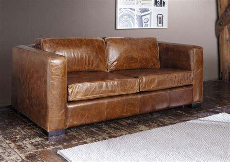 canap 233 lit en cuir marron chez maisons du monde