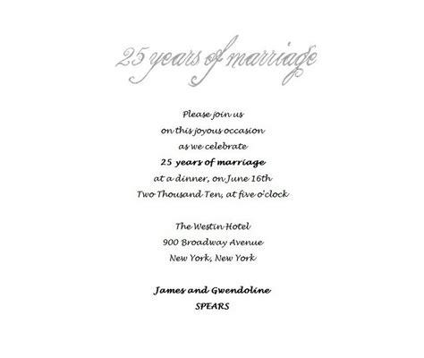 25th wedding anniversary invitation matter 25th wedding anniversary invitations 4 free wording