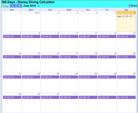 180 Day Calendar 180 Day Disney Dining Reminder Calendar Magical Distractions