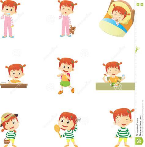 imagenes rutinas escolares rutinas diarias para los ni 241 os ilustraci 243 n del vector