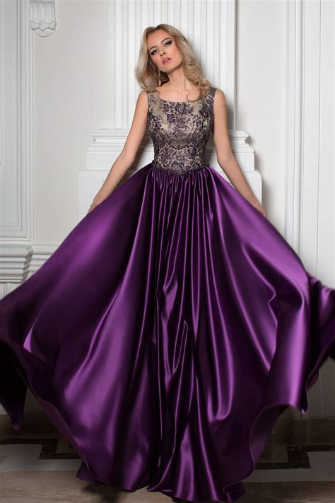 Robe Cocktail Longue Prune - robe de cocktail violette en satin duchesse oksana mukha
