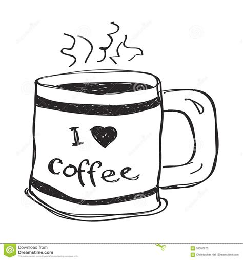 doodle coffee simple doodle of a coffee mug stock vector image 58357675
