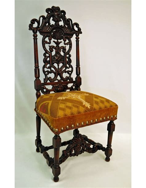Antique jacobean style carved walnut side chair