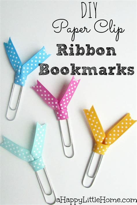 How To Make Paper Clip Bookmark - diy paper clip ribbon bookmarks crafts paper clip