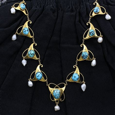Pippin Vintage Jewelry by Murrle Bennet Co Turquoise Necklace C1905 Pippin
