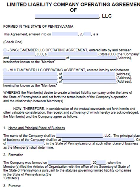 operation agreement llc template free pennsylvania llc operating agreement template pdf