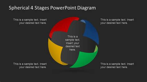 3 step spherical segmented diagram for powerpoint slidemodel spherical 4 stages powerpoint diagram slidemodel