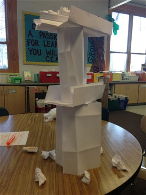 How To Make A Free Standing Paper Tower - a day in the of miss kiser paper tower challenge