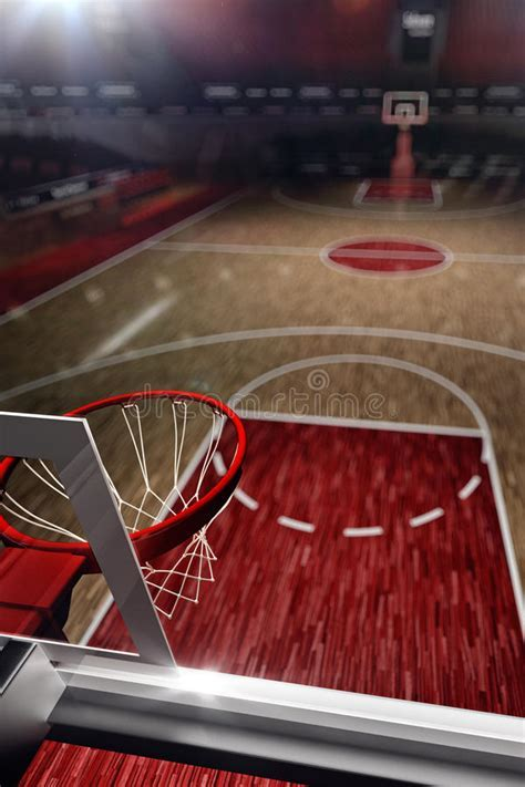 Basketball Court. Sport Arena. 3d Render Background. Stock