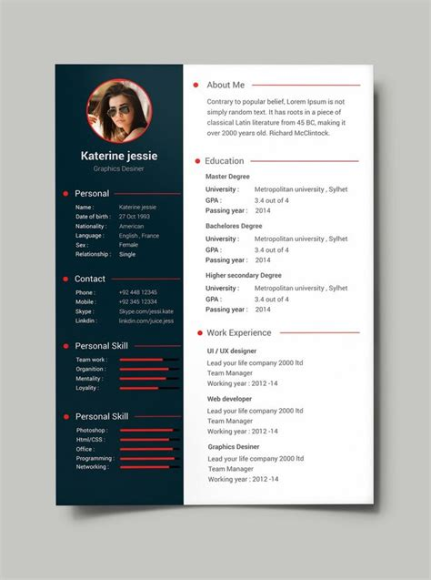 curriculum vitae web page design 25 best ideas about cv template on pinterest creative