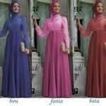 Gamis Pesta Brokat Viendi Gaun Mix Brokat Model Maxi Dress Hijabers Terbaru