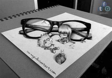 How To Make 3d Drawing On Paper - inemuri naruhina 3d drawing on paper by iza nagi on
