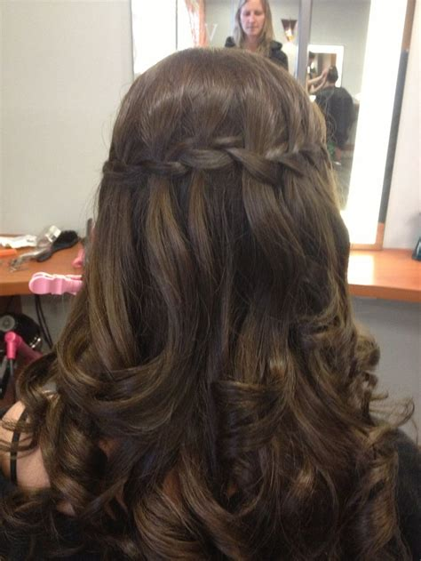 prom hairstyles brown hair waterfall braid dark brunette hair beauty pinterest